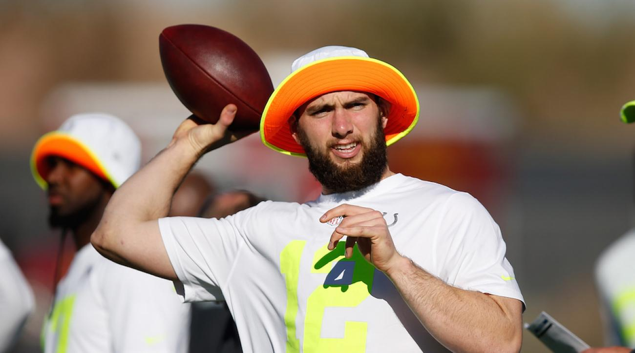 Indianapolis Colts quarterback Andrew Luck throws a pass during a Pro Bowl practice at Scottsdale Community College on Jan. 24.