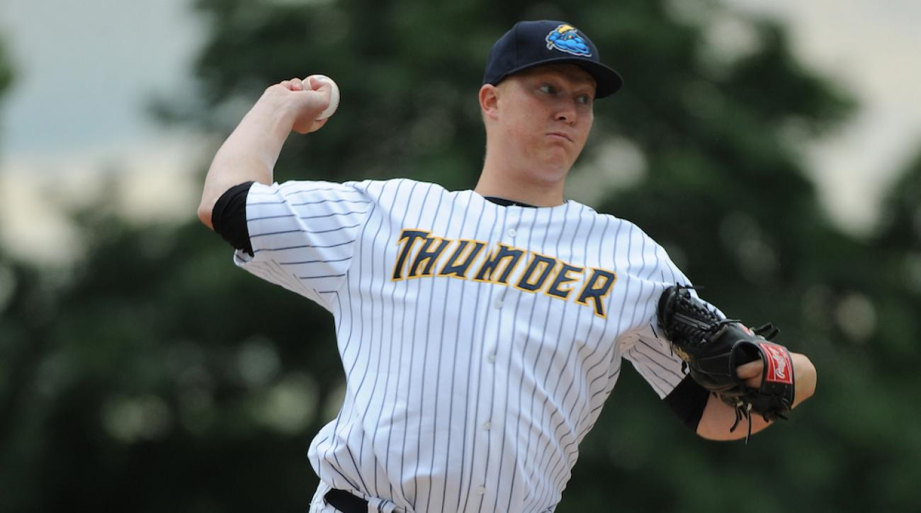 Trenton Thunder pitcher Phil Wetherell during a game against the New Hampshire Fisher Cats at Arm & Hammer Park on June 22, 2014, in Trenton, N.J.