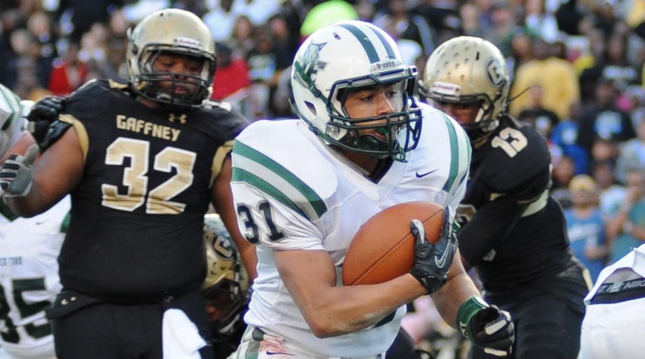 Matt Coburn (white jersey) rushed for 5,438 yards and 87 touchdowns at Dutch Fork High School