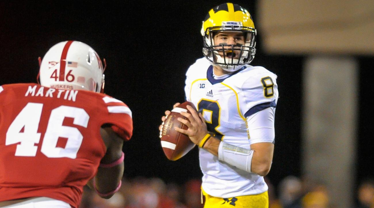 Former Michigan quarterback Russell Bellomy looks to pass in an Oct. 27, 2012, game vs. Nebraska