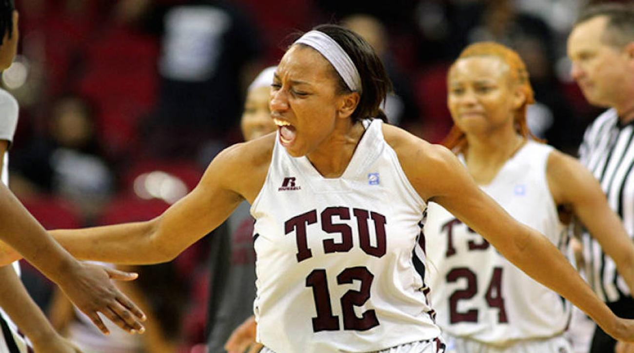 TSU forward Morgan Simmons (12) was one of 15 players suspended for a benches-clearing brawl.