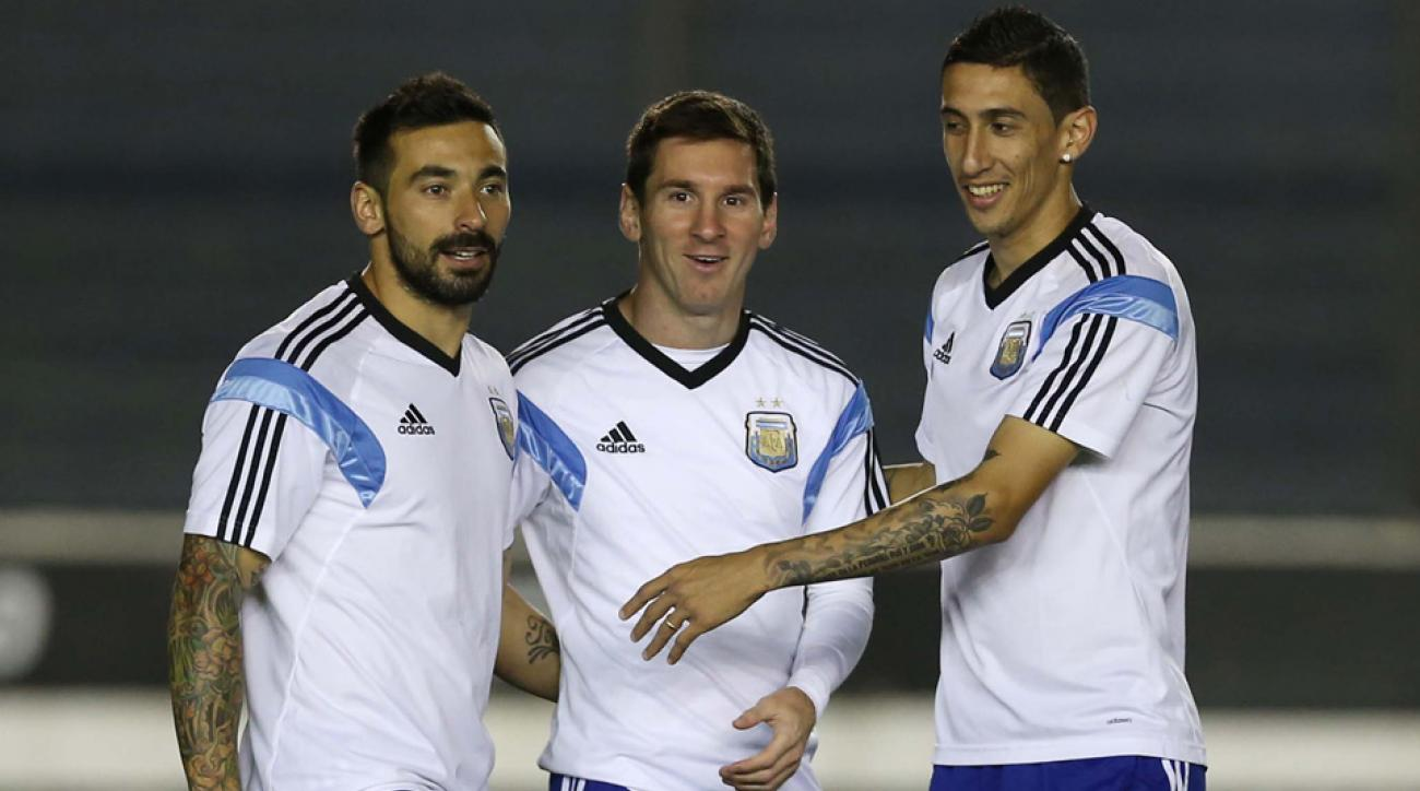 From left, Ezequiel Lavezzi, Lionel Messi and Angel Di Maria will play for Argentina in the USA later in March.