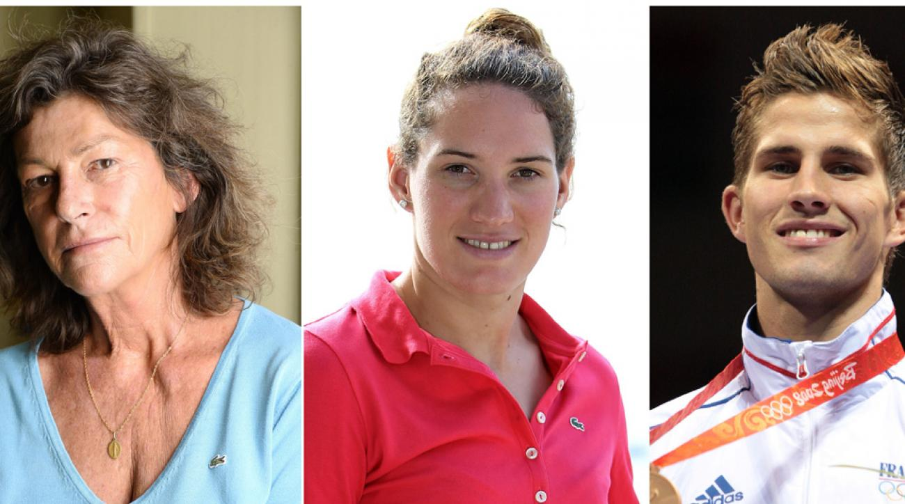Florence Arthaud (left), Camille Muffat and Alexis Vastine were killed Monday in a helicopter crash.