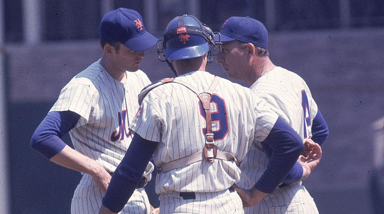 Gil Hodges (right) helped guide a young team that included Nolan Ryan (left) to a stunning world championship.