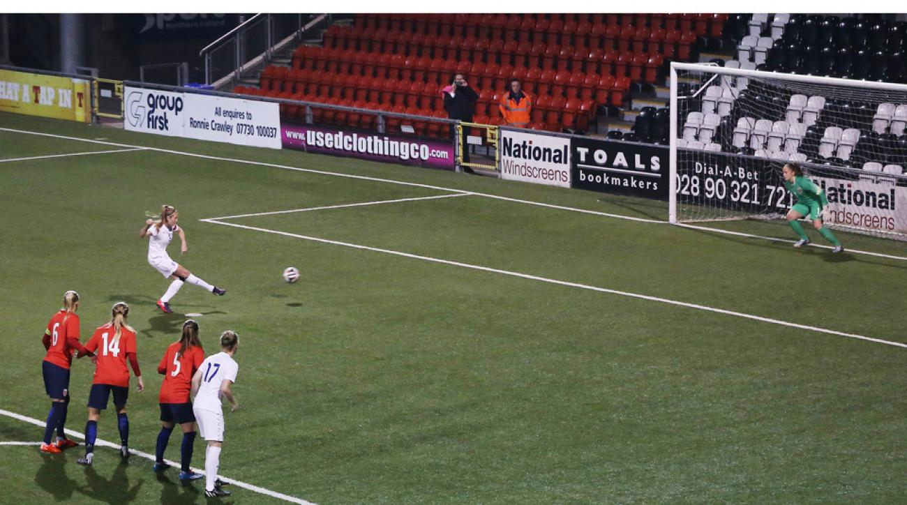 England captain Leah Williamson scores the equalizer against Norway five days after their original match.