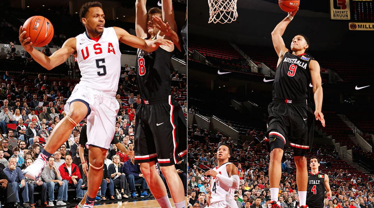 Ben Simmons (right) scored 13 points in the World team's 103-101 victory over Isaiah Briscoe (left) and USA at the Nike Hoop Summit.