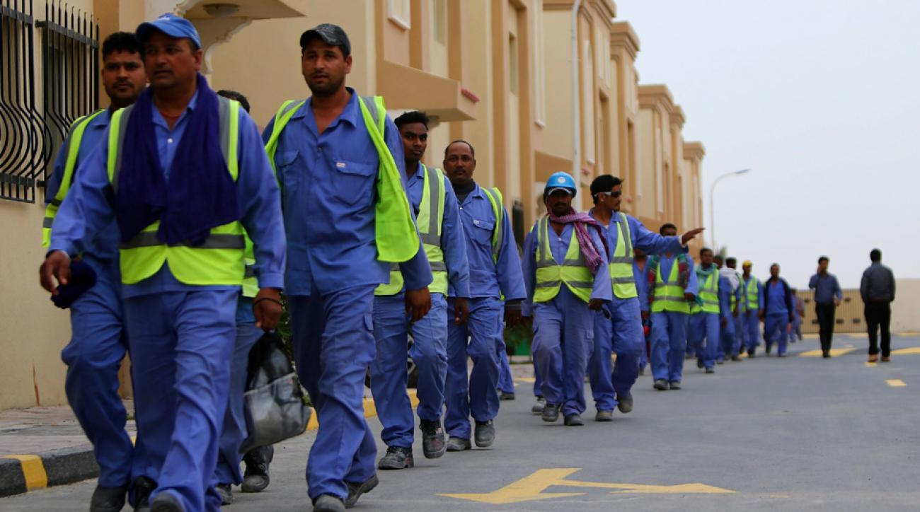 Migrant workers in Qatar at the site of the al-Wakrah soccer stadium, being built for the 2022 World Cup.