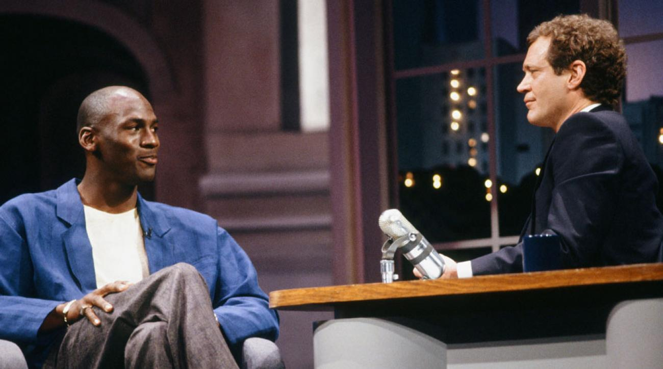 """Michael Jordan appears on """"Late Night with David Letterman"""" in 1989"""