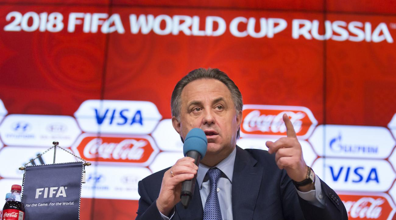 Russian Sports Minister Vitaly Mutko speaks during a press conference on World Cup 2018 issues in Moscow on April 29.