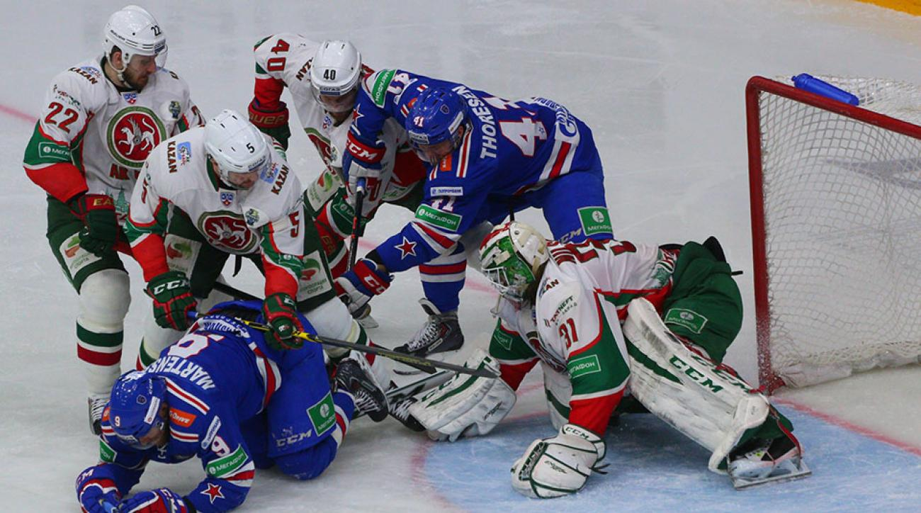 SKA St. Petersburg, in blue, traded 24 players to Spartak Moscow.