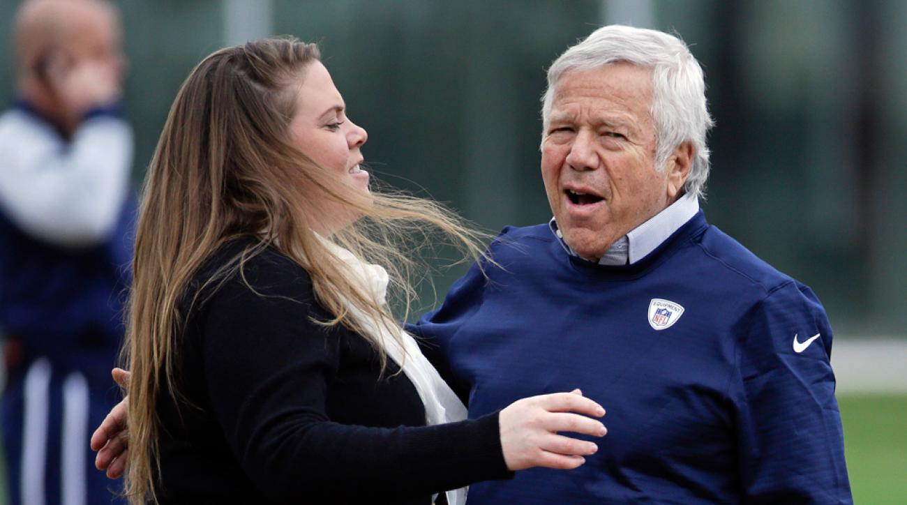 Amanda Belichick talks to Patriots owner Robert Kraft