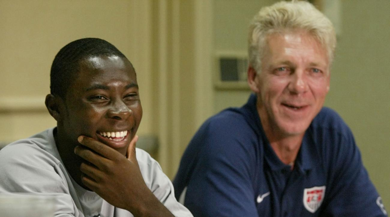 Freddy Adu and Thomas Rongen, pictured together in a U.S. U-20 press conference in 2004.