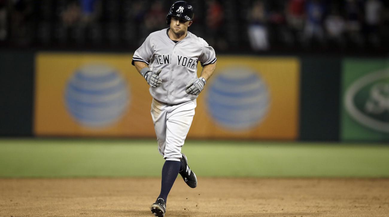 New York Yankees outfielder Brett Gardner in a safer moment.