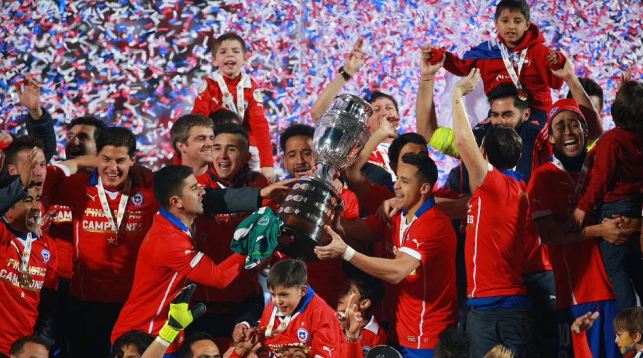 Players for Chile celebrate after the 2015 Copa America final against Argentina.