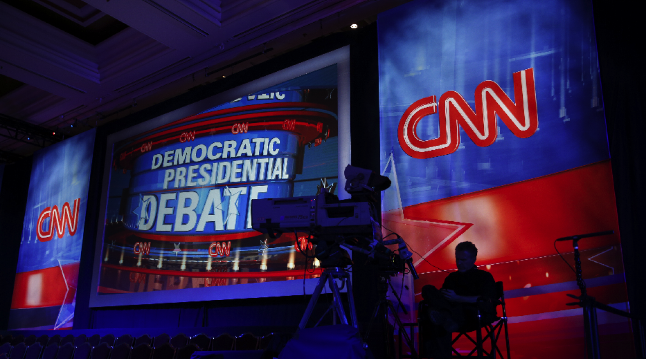 A camera operator waits in the debate hall before a CNN Democratic presidential debate