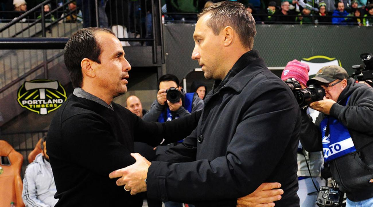 Pareja with Timbers coach Caleb Porter on Sunday.
