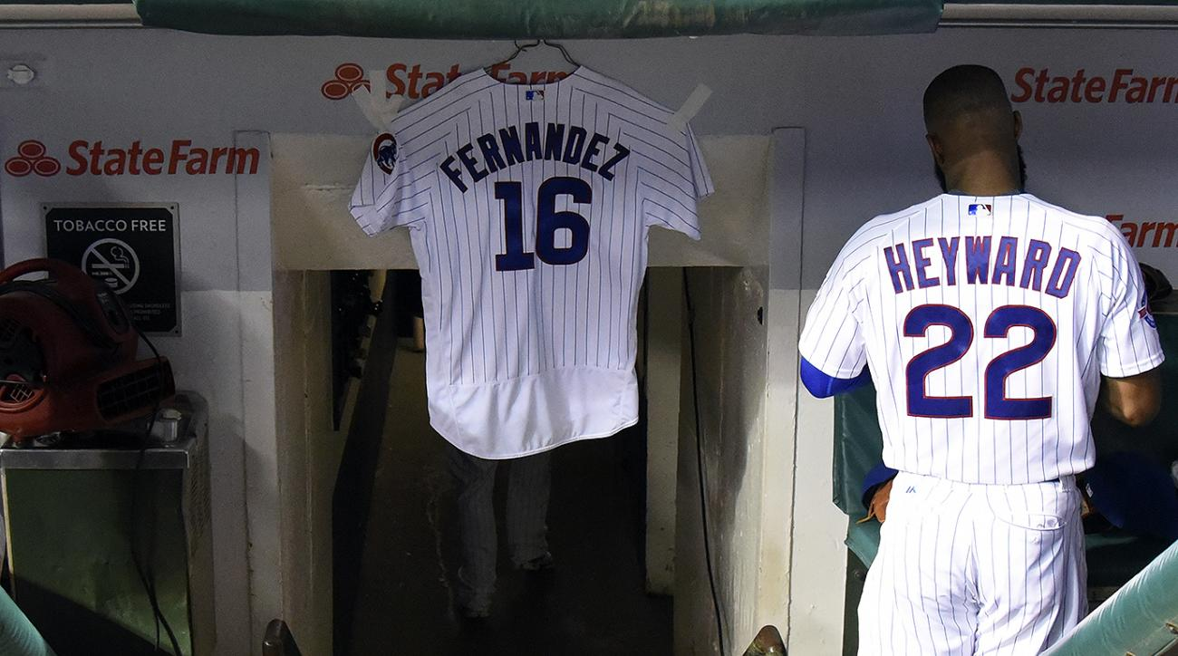 A Jose Fernandez Cubs jersey hangs in Chicago's dugout during Sunday night's game against the St. Louis Cardinals