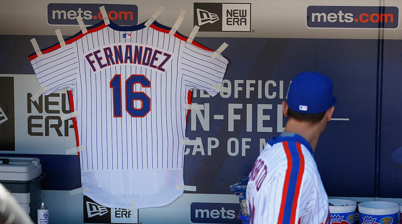 A Jose Fernandez Mets jersey hangs in New York's dugout during a game against the Philadelphia Phillies on Sunday, Sept. 25, 2016 at Citi Field in New York.