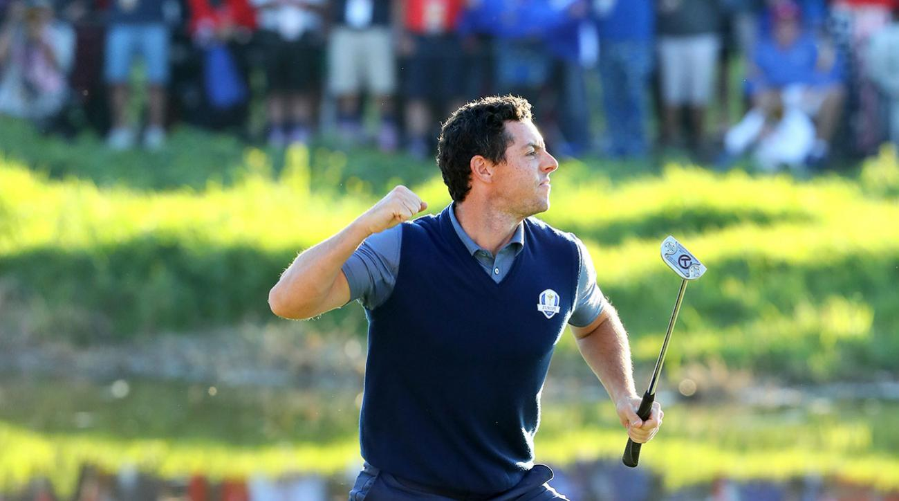 Rory McIlroy of Europe reacts on the 16th green after making a putt to win the match during afternoon fourball matches of the 2016 Ryder Cup at Hazeltine National Golf Club on September 30, 2016 in Chaska, Minnesota. (Photo by Andrew Redington/Getty Image