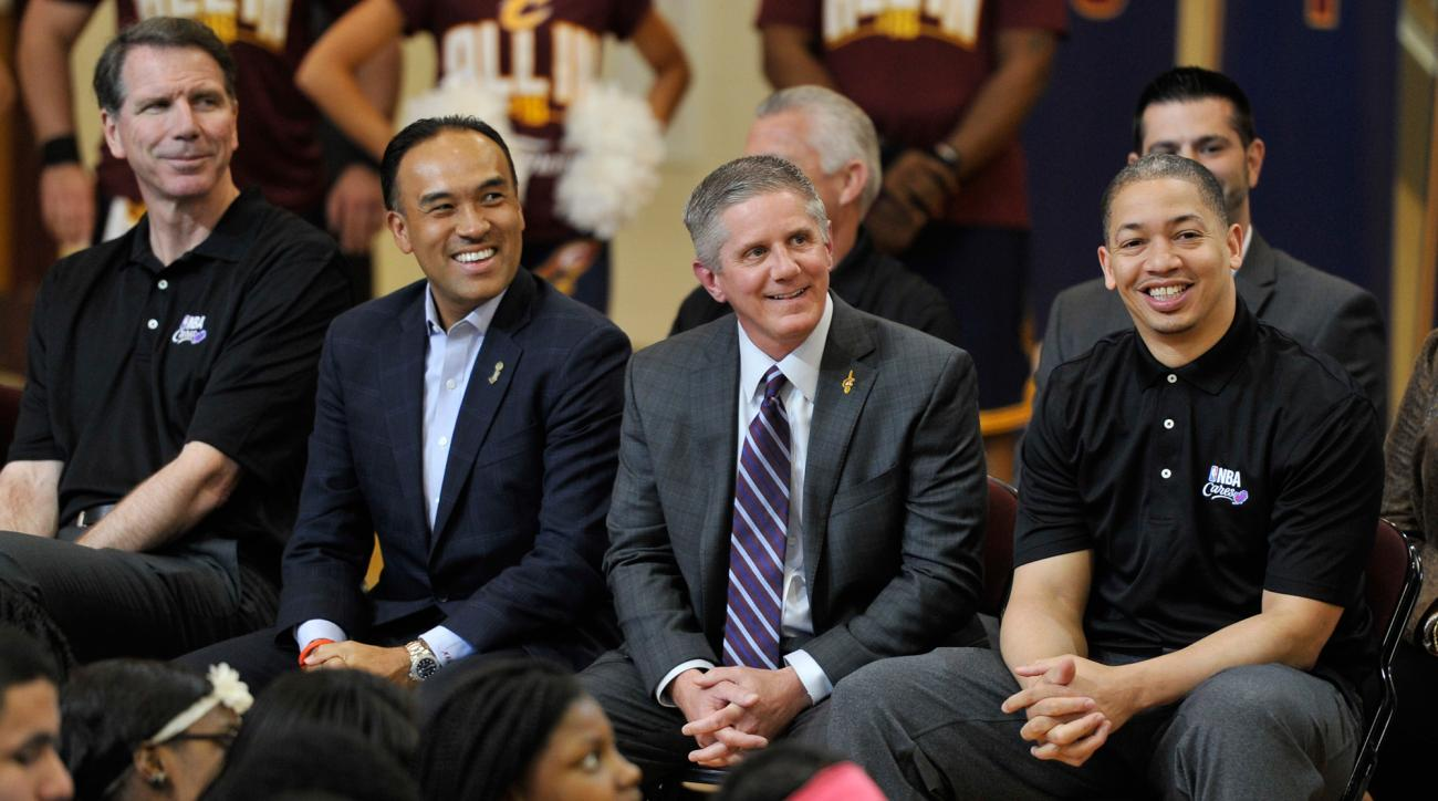 Kerry Bubolz, second from right, will oversee the creation of the NHL's Las Vegas expansion team as its president after leaving the Cleveland Cavaliers.