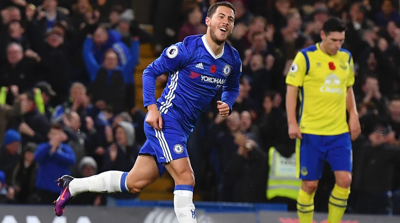 EPL: Eden Hazard Scores Twice As Chelsea Routs Everton