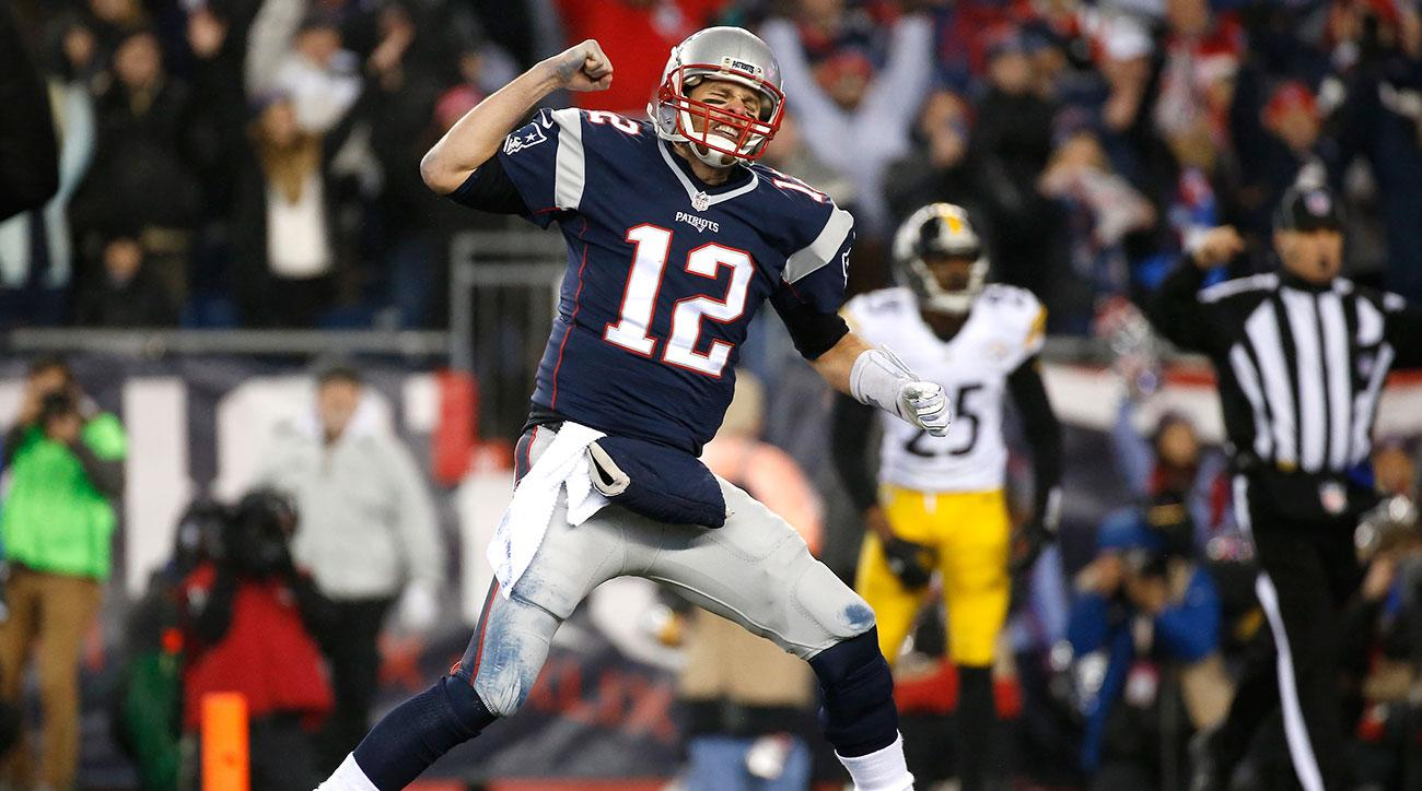 Tom Brady #12 of the New England Patriots celebrates after a 1-yard rushing touchdown by LeGarrette Blount #29 (not pictured) during the third quarter against the Pittsburgh Steelers in the AFC Championship Game at Gillette Stadium on January 22, 2017 in