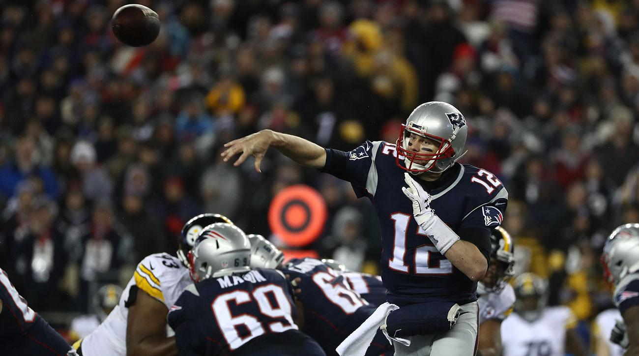 Tom Brady #12 of the New England Patriots throws a pass during the first half against the Pittsburgh Steelers in the AFC Championship Game at Gillette Stadium on January 22, 2017 in Foxboro, Massachusetts. (Photo by Elsa/Getty Images)