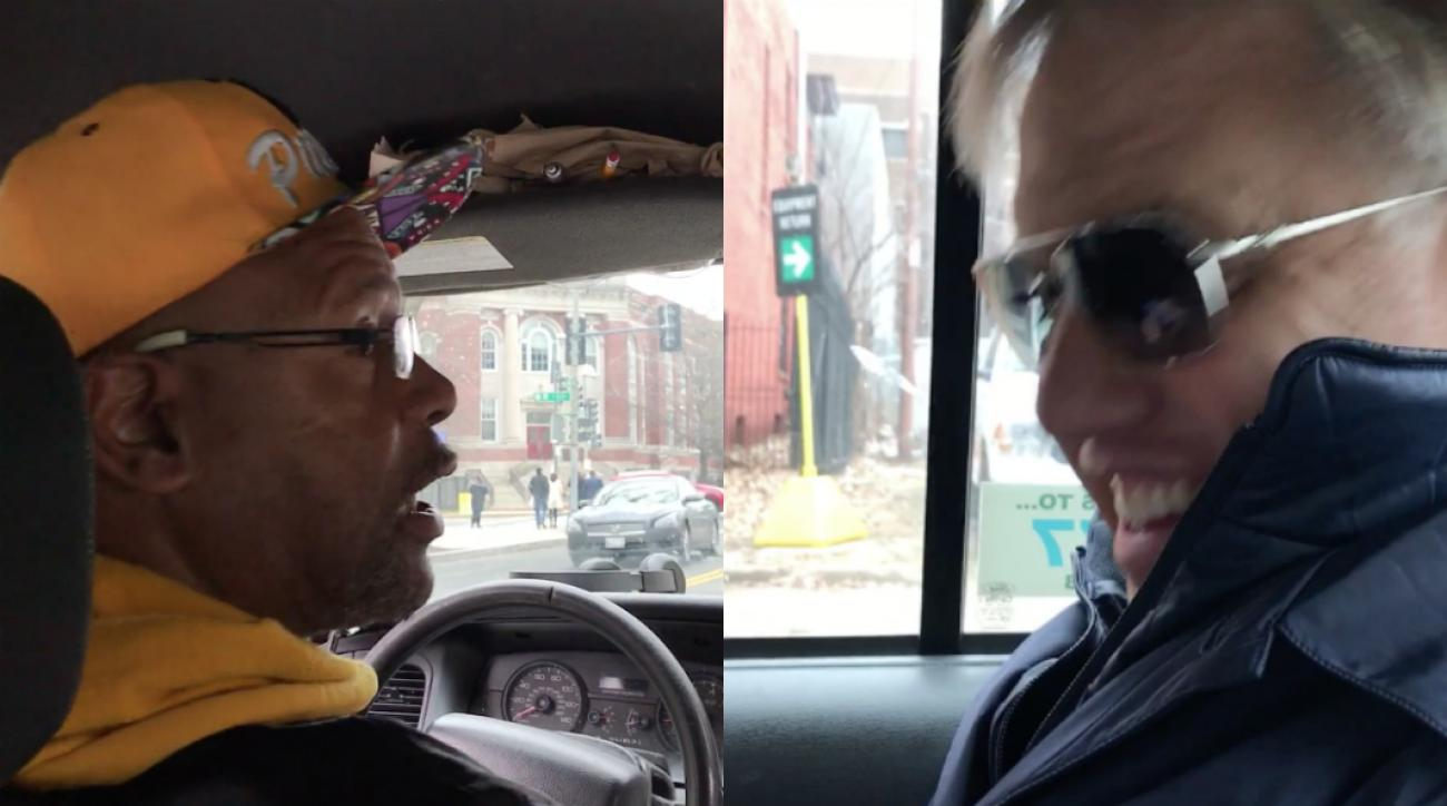 Cab driver praises John Elway as he sits in the back seat