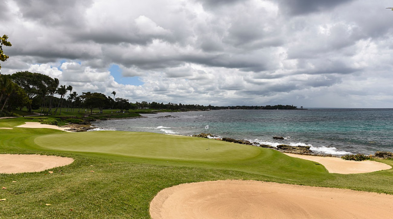 The seventh hole green at Teeth of the Dog at the Casa de Campo resort in the Dominican Republic.