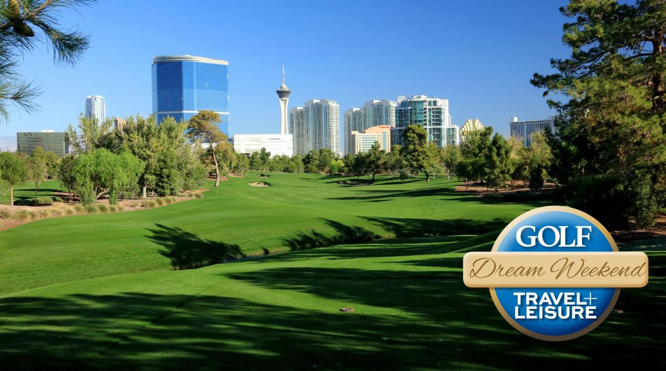The 449 yards par 4, fourth hole at the Wynn Golf Club in Las Vegas.