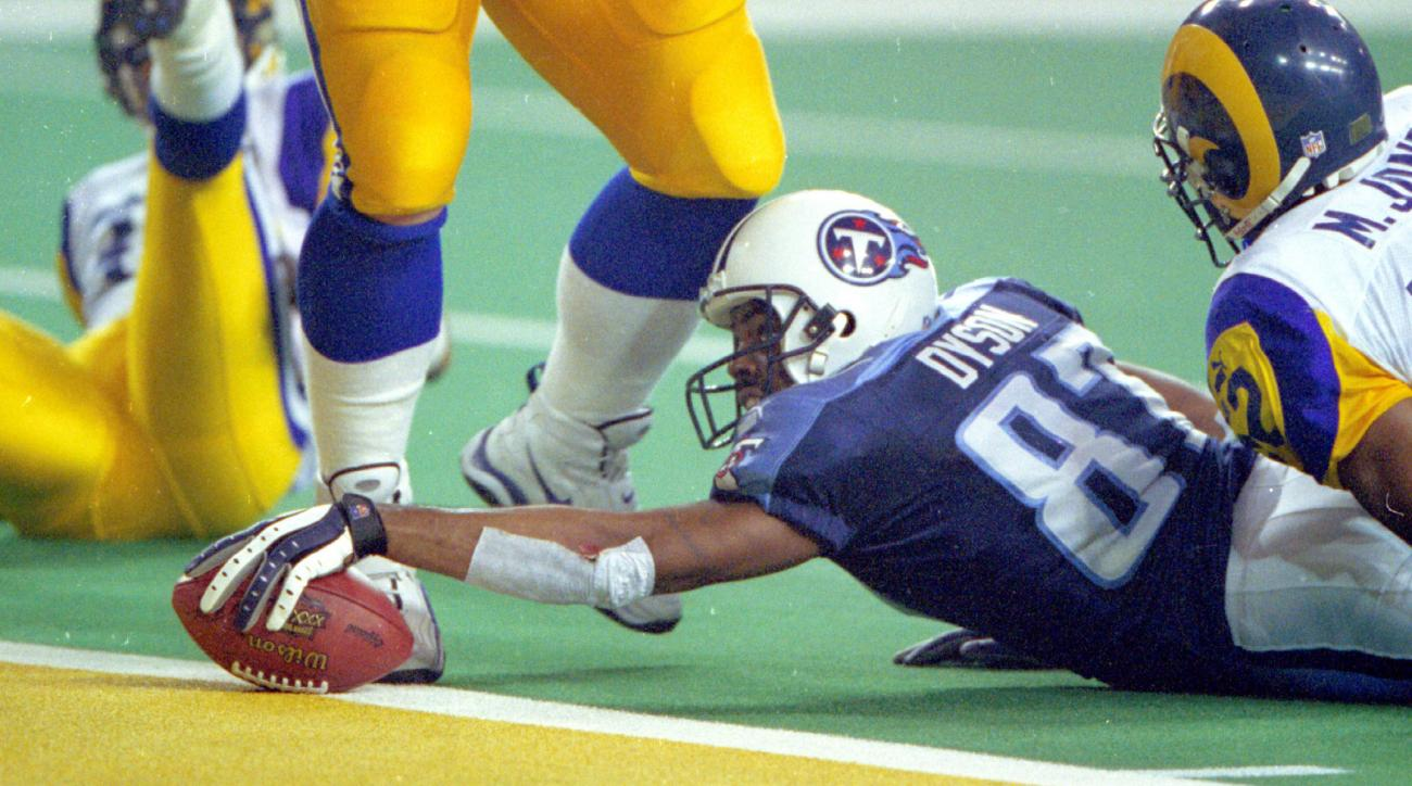 Kevin Dyson was brought down one-yard short of the endzone on the last play of Super Bowl XXXIV