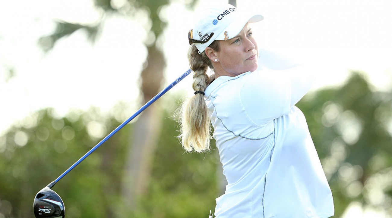 Brittany Lincicome hits a tee shot during the first round of the Pure Silk Bahamas LPGA Classic.