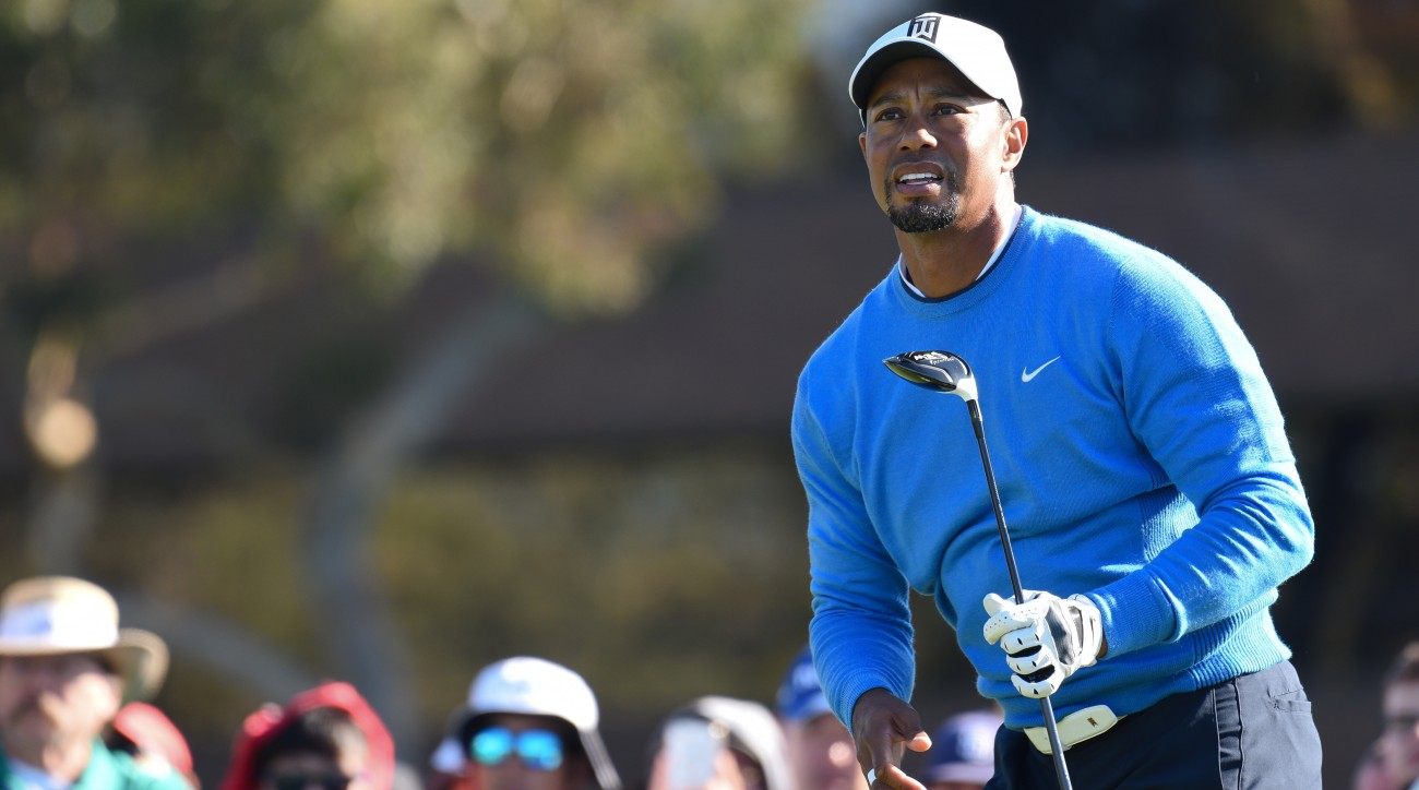 Tiger Woods watches a shot during the 2017 Farmers Insurance Open.