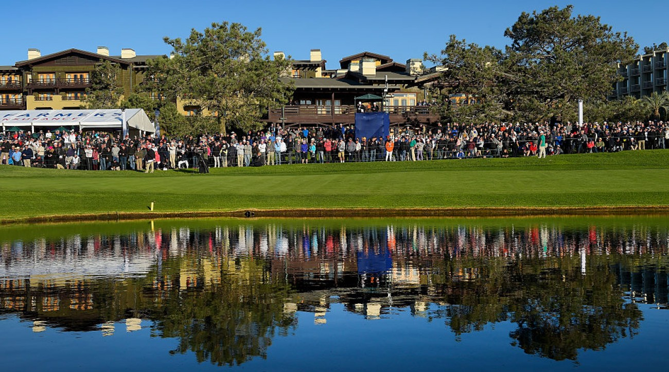 A fan at the Farmers Insurance Open jumped into a pond at the 18th hole on Friday.