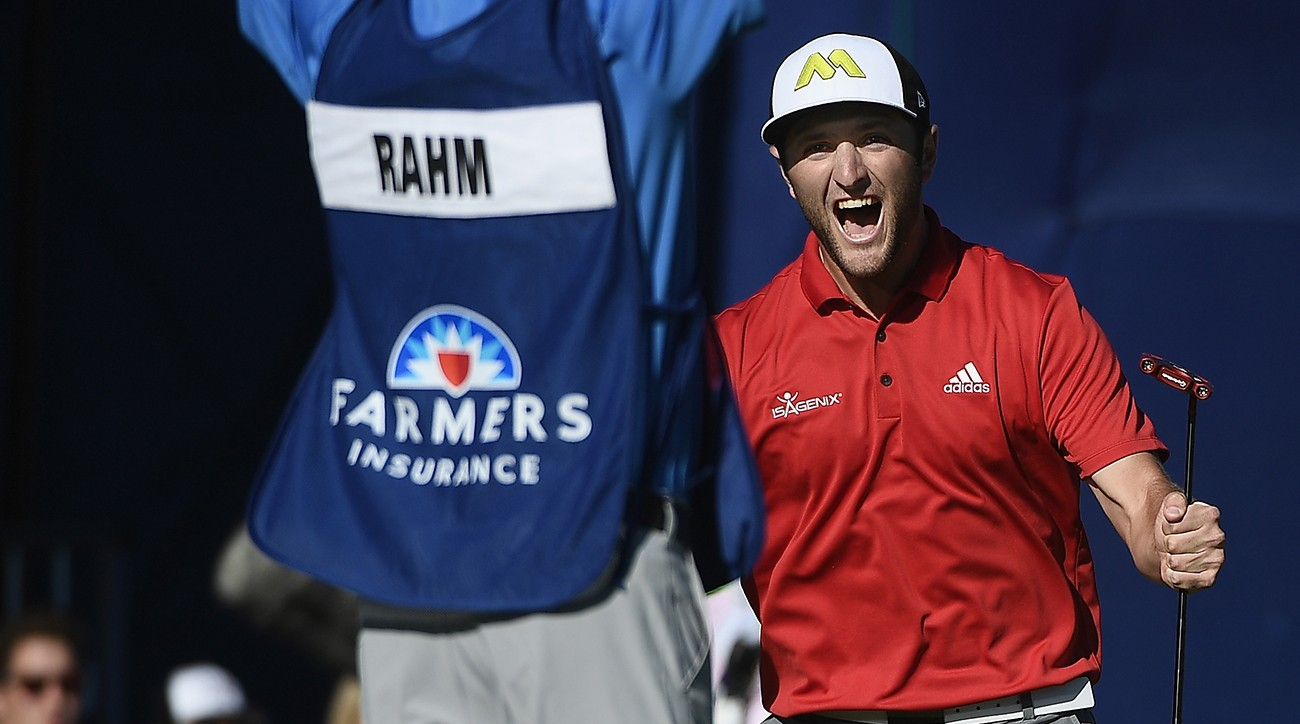Jon Rahm nailed an eagle putt to end his round on Sunday.