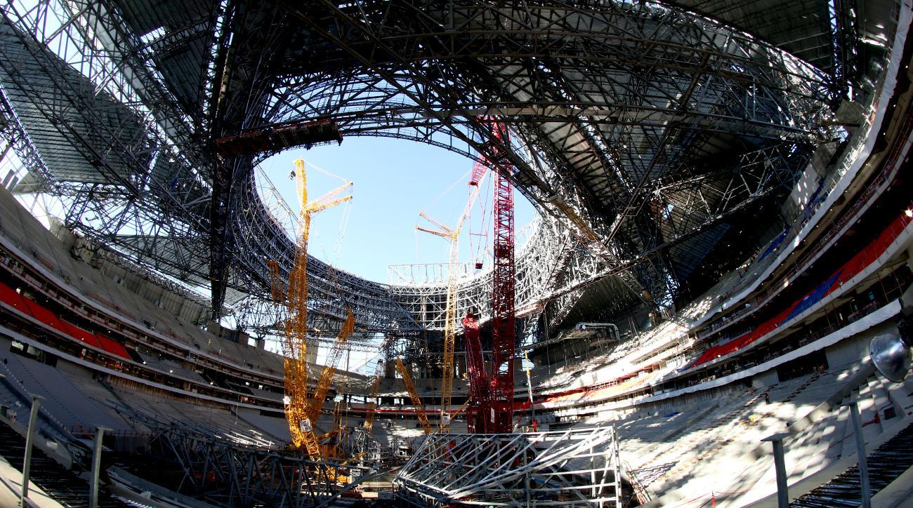 The new Falcons stadium under construction.