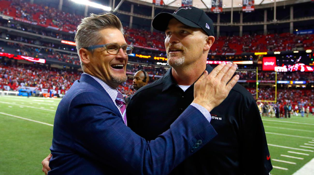 Atlanta Falcons GM Thomas Dimitroff and coach Dan Quinn.