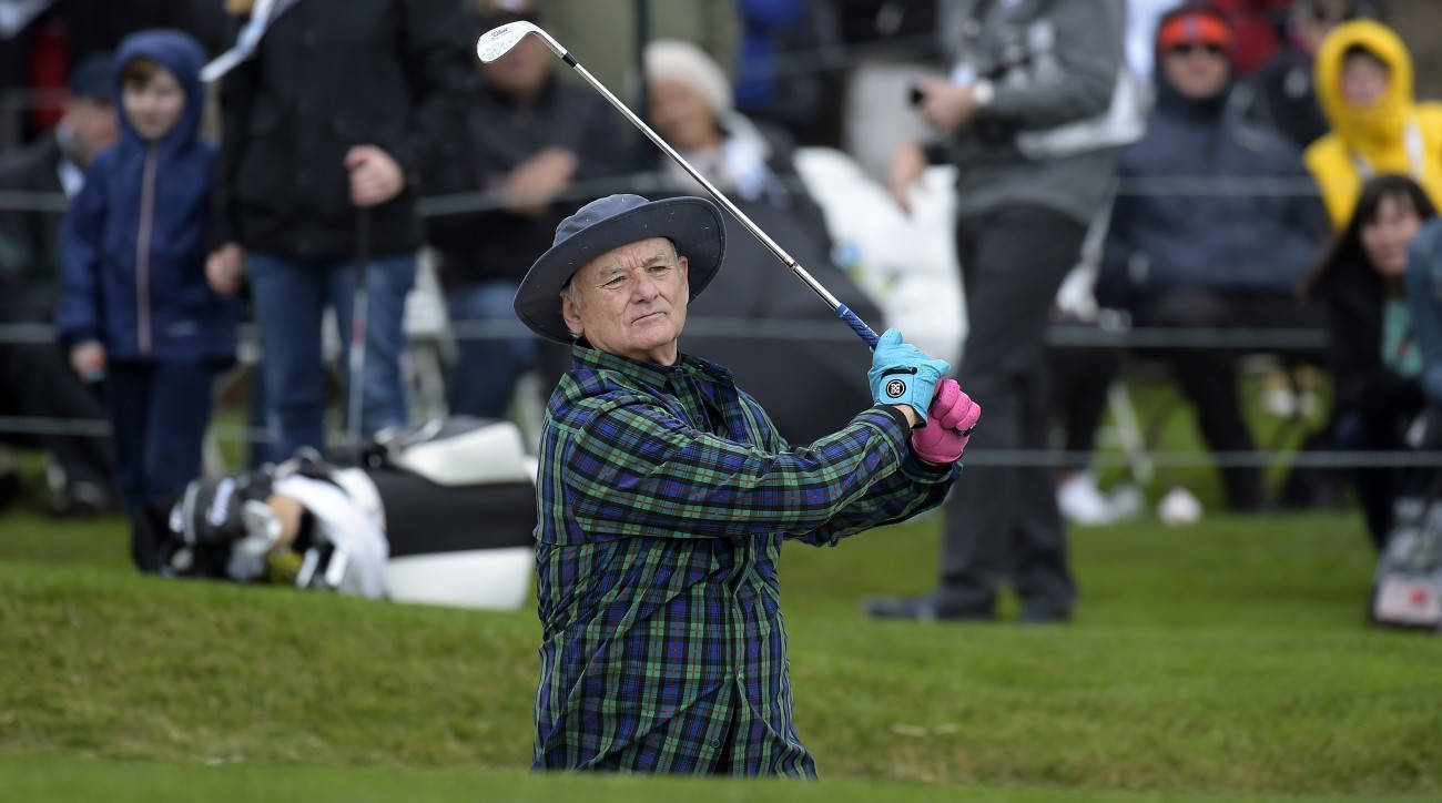 Comedian Bill Murray plays a bunker shot on the 18th hole during the 3M Celebrity Challenge for charities at the AT&T Pebble Beach Pro-Am.