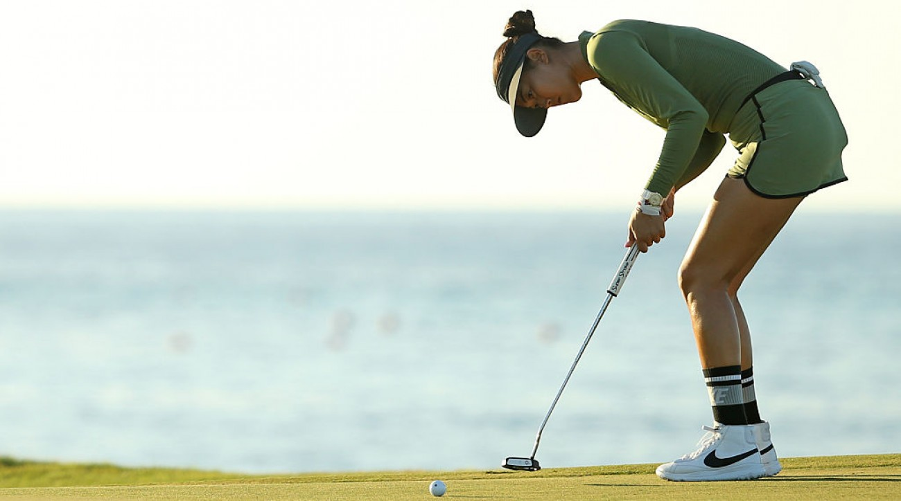 Michelle Wie putts on the eighth green during round one of the 2017 Pure Silk Bahamas Classic.