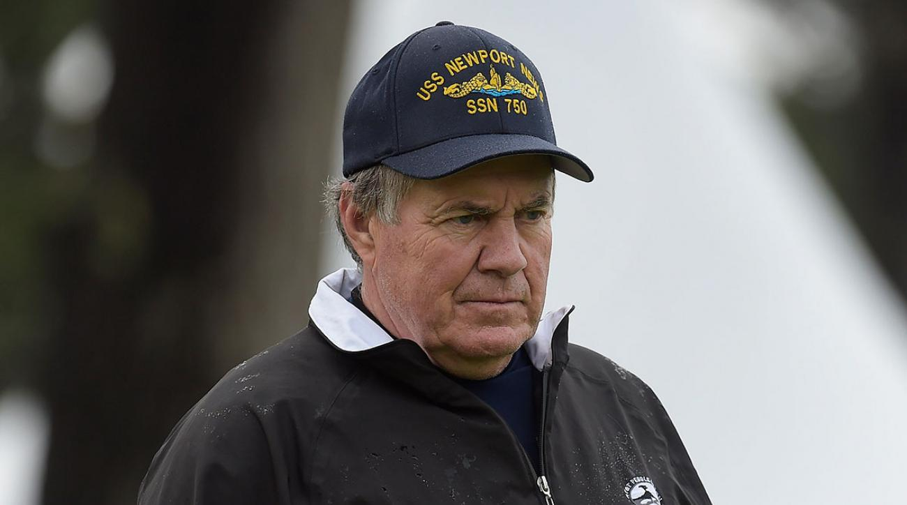 Bill Belichick watches play on the 18th green during the second round of the AT&T Pebble Beach Pro-Am