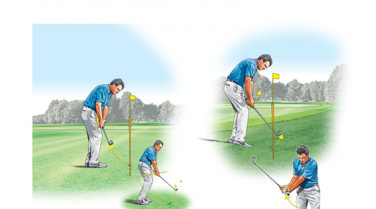 Tight lies (left) require a rounded swing with very little wrist hinge, while grassy lies (right) call for a sharper, more up-and-down swing plane.