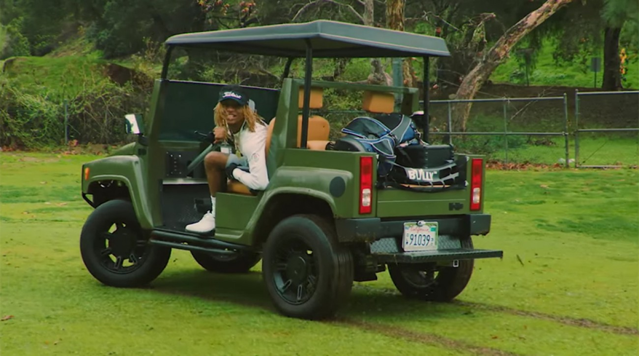 Things got a bit crazy on a California golf course in the Rae Sremmurd music video for 'Swang.'