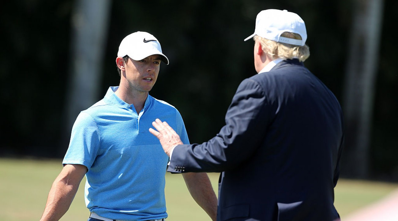 Donald Trump talks to Rory McIlroy at the 2016 WGC Cadillac Championship at Doral.