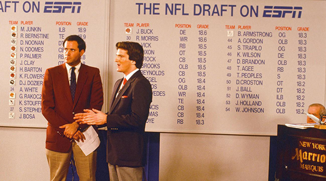 Kiper (right) and Chris Berman at the 1987 draft for ESPN.