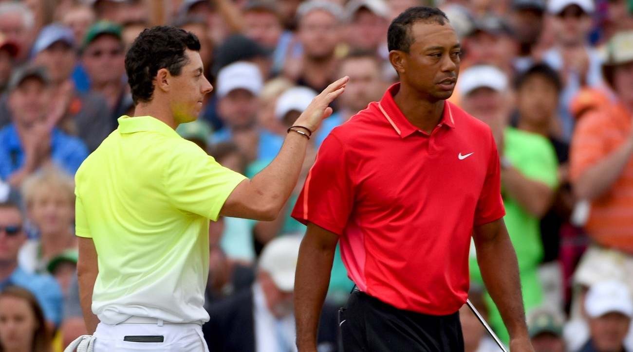 Rory McIlroy and Tiger Woods during the final round of the 2015 Masters.