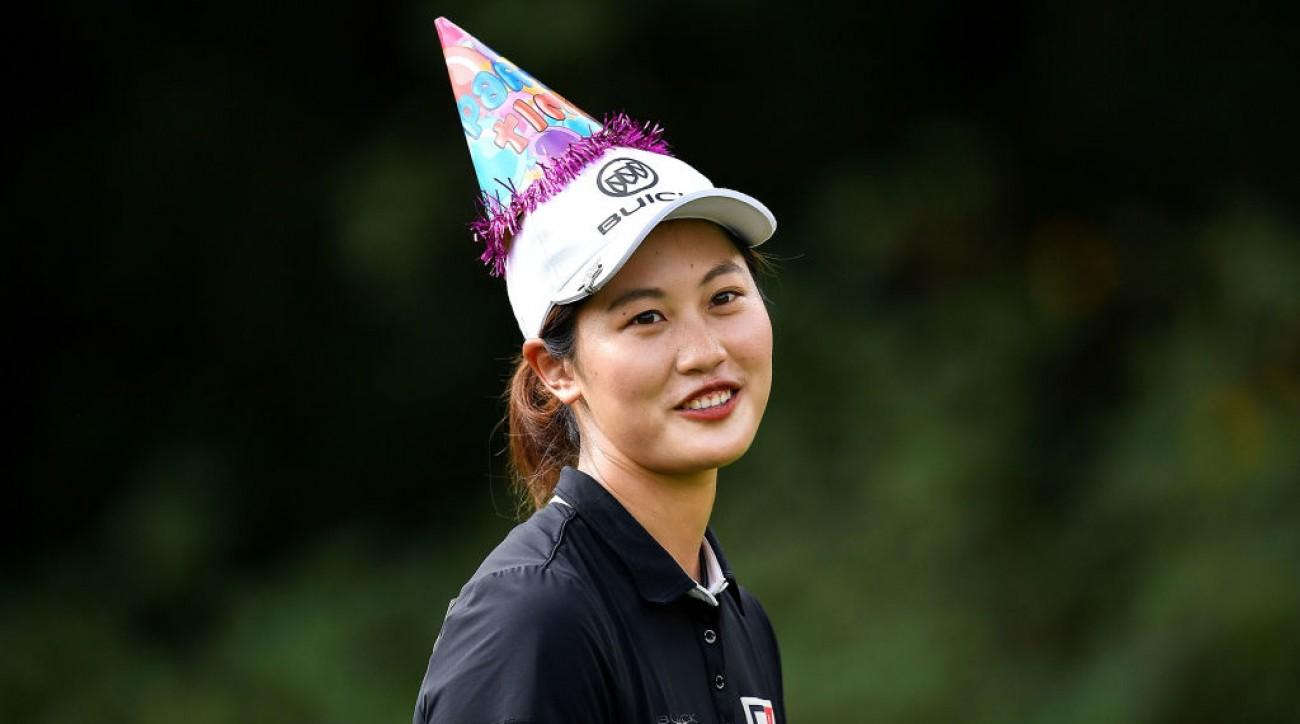 Xi Yu Lin wears a birthday hat during the Honda LPGA Thailand.