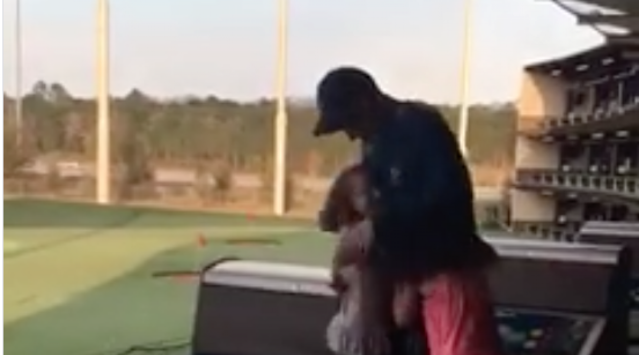 This dad surprised his three girls at a TopGolf last Friday.
