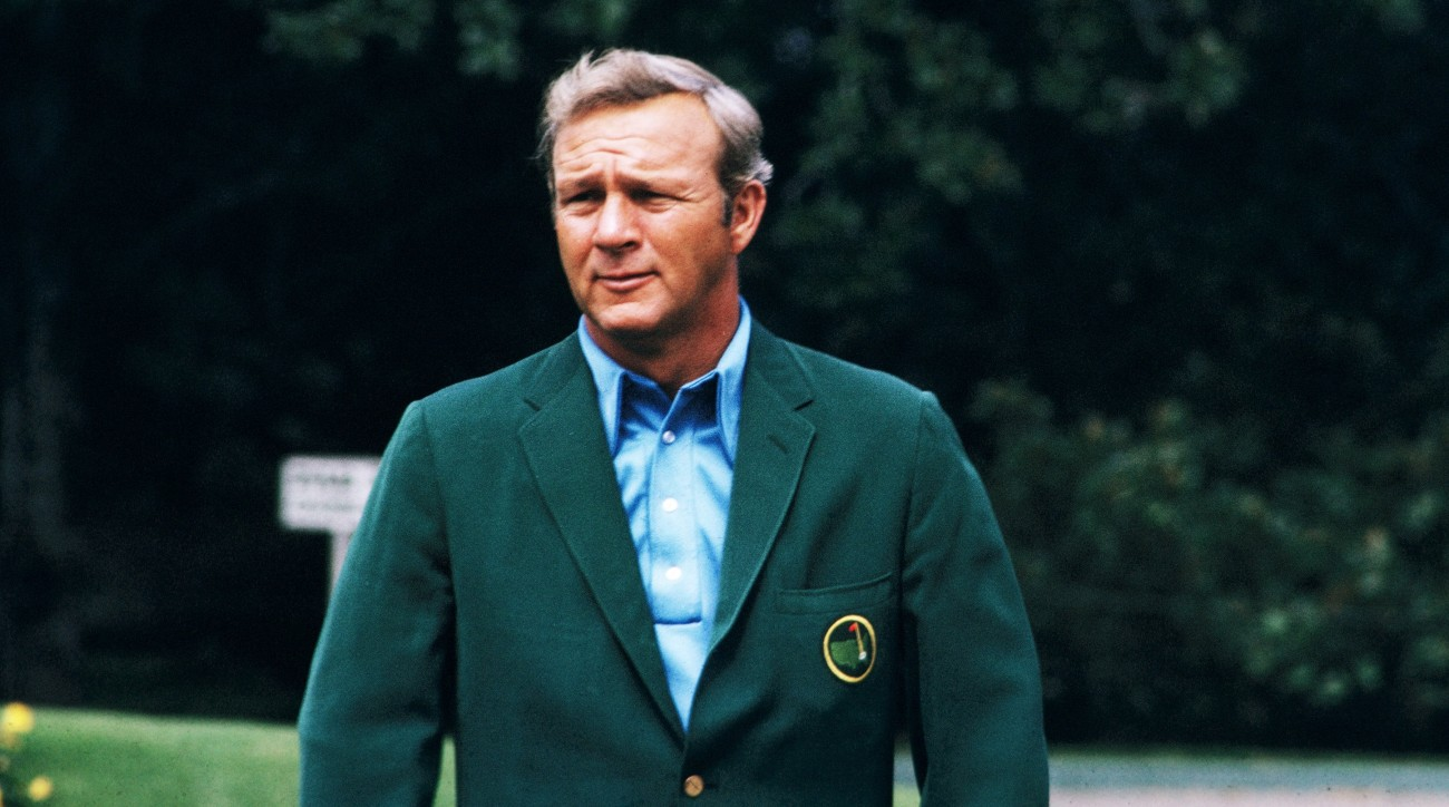 Arnold Palmer sports his green jacket at Augusta National in 1973.