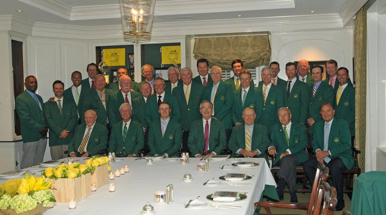 A photo of all the Masters champions that attended the 2016 Masters Champions dinner held in honor of 2015 champion Jordan Spieth.