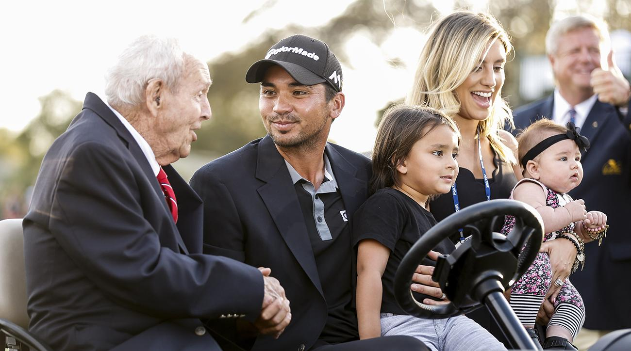 Arnold Palmer talks with Jason Day after Day won the 2016 API at Bay Hill.